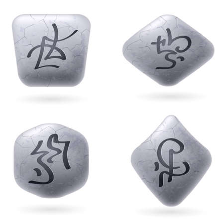 Runic Stones with Magical Spells. Set number Six on white Vector