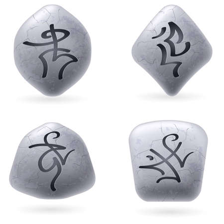 Runic Stones with Magical Spells. Set number Five on white Vector