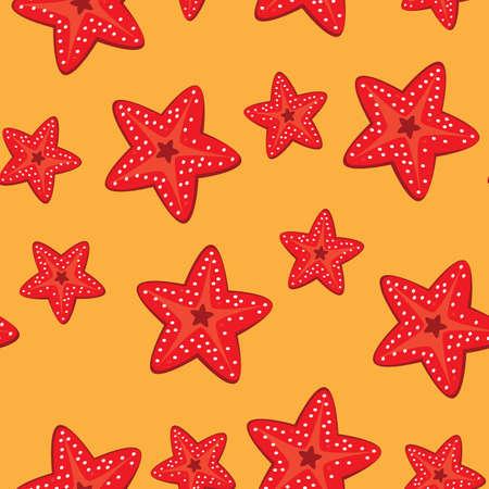 finger fish: Seamless texture of starfish.  Illustration of the designer on orange background