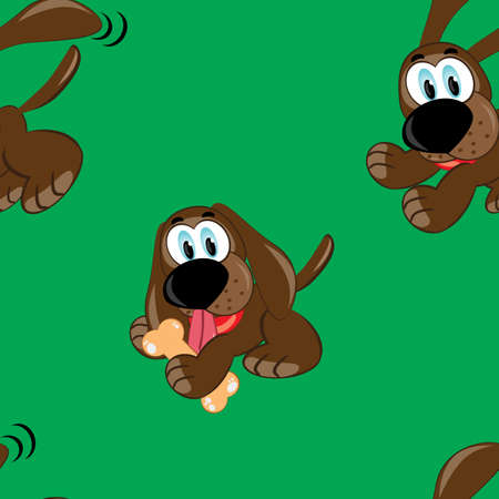 Seamless texture of cartoon dog. Illustration of the designer on green background Vector