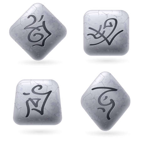 Runic Stones with Magical Spells. Set number Seven on white Vector
