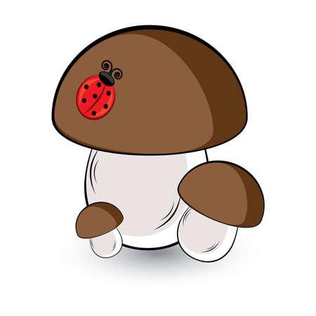 Three white mushroom and ladybug. Illustration on white background Vector