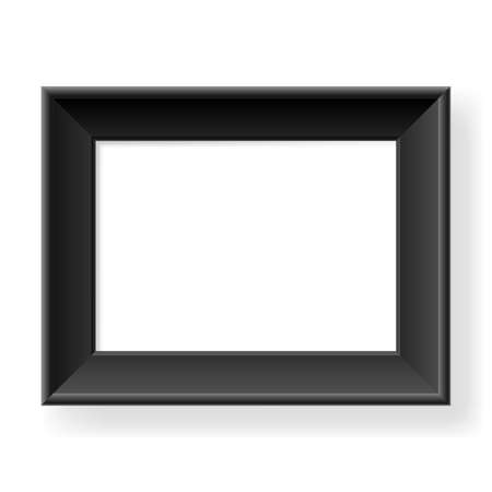 retratos: Realistic black frame. Form of the number three. Illustration on white background