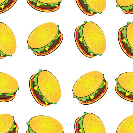 simple meal: Seamless texture of hamburger. Illustration of the designer on a white background Illustration