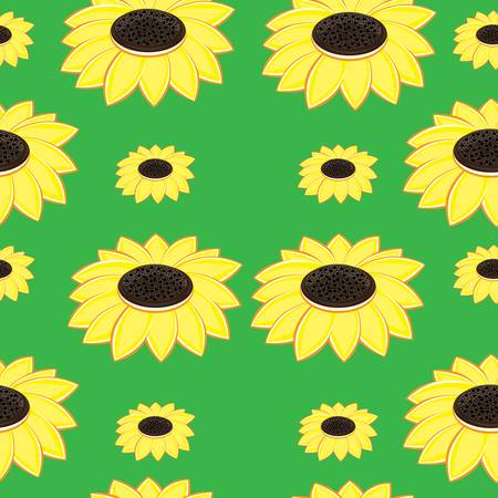 sunflower drawing: Seamless texture beautiful sunflowers. Illustration of designer on green background Illustration
