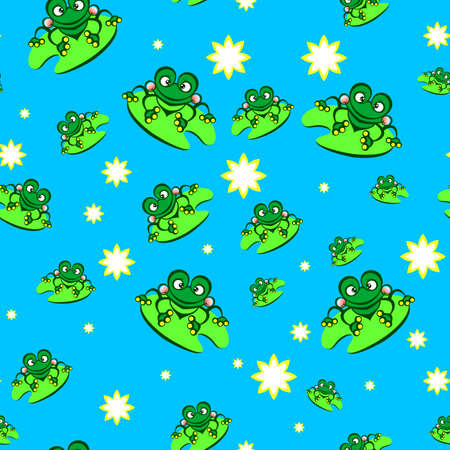 Seamless texture of cartoon frog. Illustration of designer on blue background Vector
