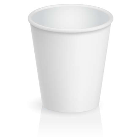 disposable: Empty cardboard cup. Illustration on white background