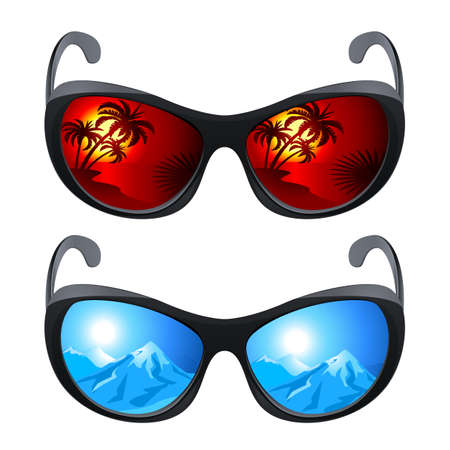 mens: Realistic sunglasses. Set the first. The illustration on white background