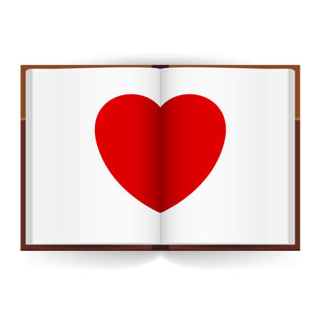 Open book with white pages and Red Heart. Illustration on white background Vector