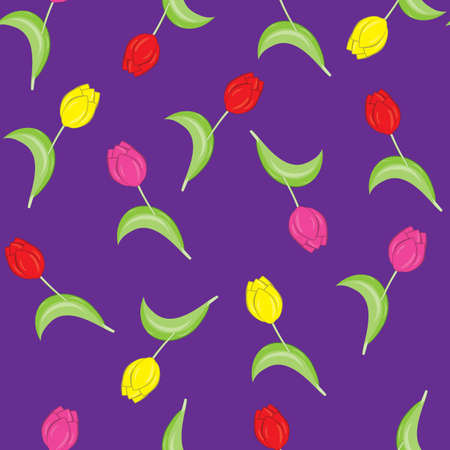 Seamless texture of colorful tulips. The illustration on the purple background Vector