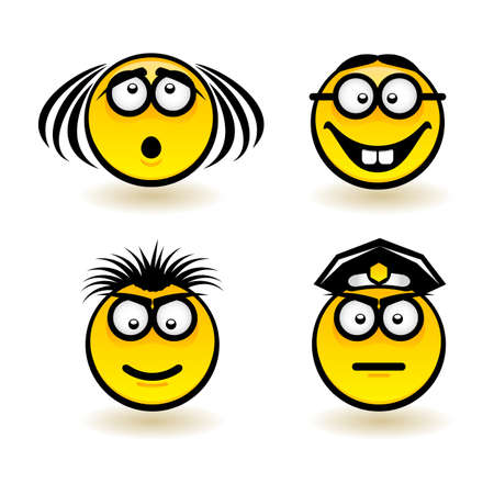 Cartoon faces. Set of second. Illustration of designer on white background Stock Vector - 13897869