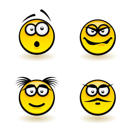 surprise face: Cartoon faces. Set of third. Illustration of designer on white background Illustration