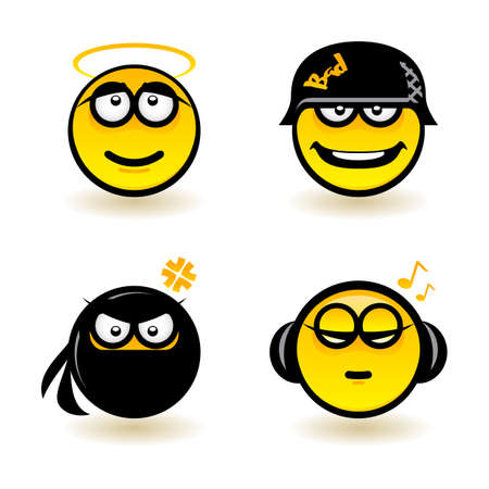 Cartoon faces. Set of four. Illustration of designer on white background Stock Vector - 13897868