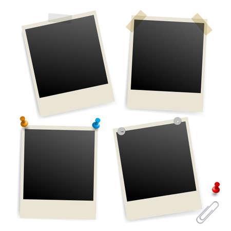 Six empty picture frames. Illustration of designer on white background Vector