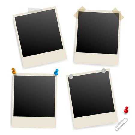 snaps: Six empty picture frames. Illustration of designer on white background