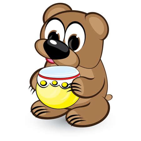 Cartoon bear and honey. Illustration on white background Vector
