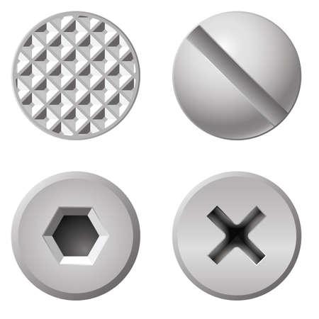 different shapes: Bulloni realistiche di forme diverse. Illustrazione su sfondo bianco Vettoriali