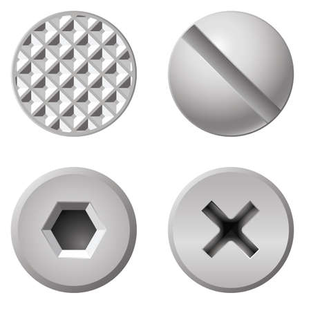 tuercas y tornillos: Pernos realistas de diferentes formas. Ilustración sobre fondo blanco Vectores