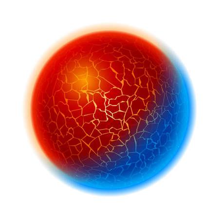 fire and ice: Vuur en ijs bal planeet. Illustratie op een witte achtergrond Stock Illustratie