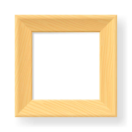 photo board: Realistic wooden frame. The form number one.  Illustration on white background