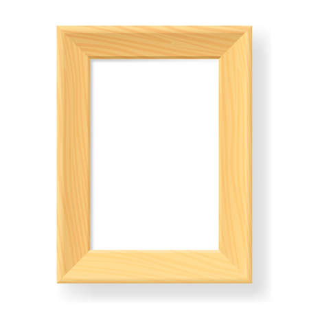 photo board: Realistic wooden frame. The form number two.  Illustration on white background