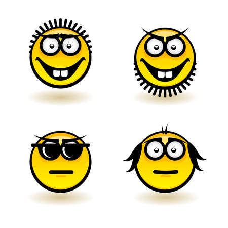 Cartoon faces. Set of fifth. Illustration for design on white background Vector