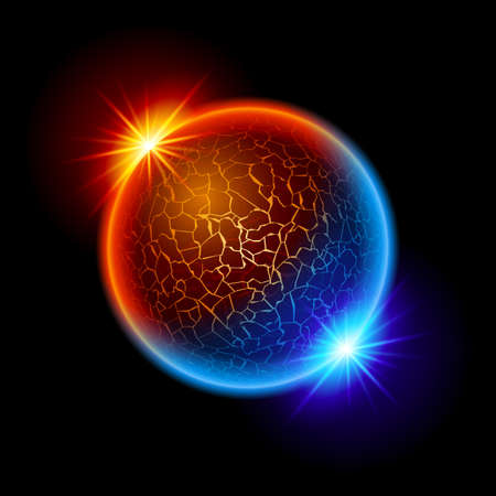 Fire and Ice Ball Planet with Two Stars. Illustration on black background
