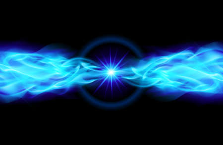 emit: Blue Star with Flame Tail in Space