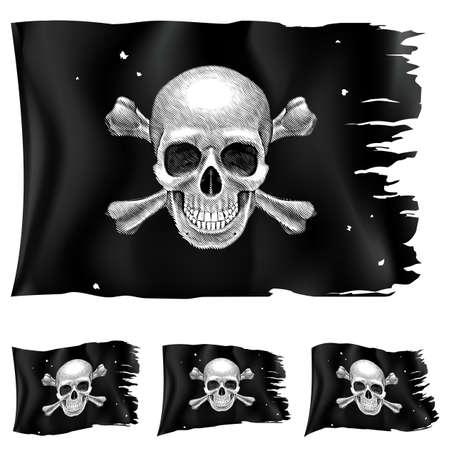 cross bones: Hay tres tipos de bandera pirata. Ilustraci�n para el dise�o sobre fondo blanco