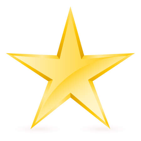 star shape: Shiny Gold Star. Form of the seventh. Illustration for design on white background Illustration