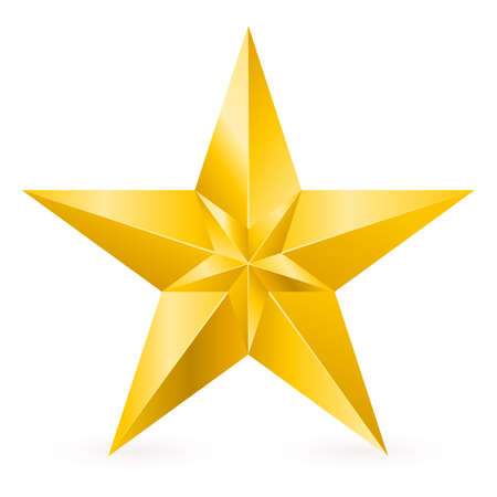 lucero: Estrella de Oro Brillante. Forma de la novena entrada. Ilustración para el diseño sobre fondo blanco Vectores