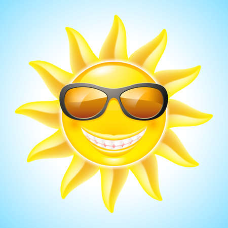 Cartoon Smiling Sun with Sunglasses. See other works in my portfolio Vector
