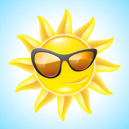 Cartoon Funny Sun with Sunglasses. See other images in my portfolio Vector