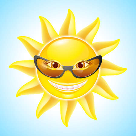 Cartoon Smiling Sun with Sunglasses. See other images in my portfolio Vector