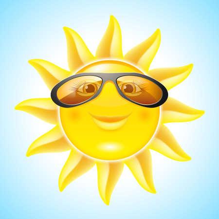 soleil rigolo: Sun Fun avec lunettes de soleil. Personnage de bande dessin�e pour la conception