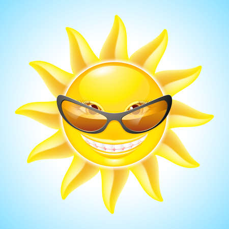 Cute Sun with Sunglasses. Cartoon Character for design Vector