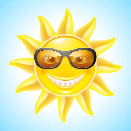 Cool Smiling  Sun with Sunglasses. Cartoon Character for design Vector