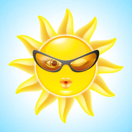 Winking Sun with Sunglasses. Cool Cartoon Character for design Vector