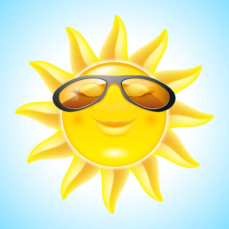 Smiling Sun with Sunglasses. Cool Cartoon Character for design Vector