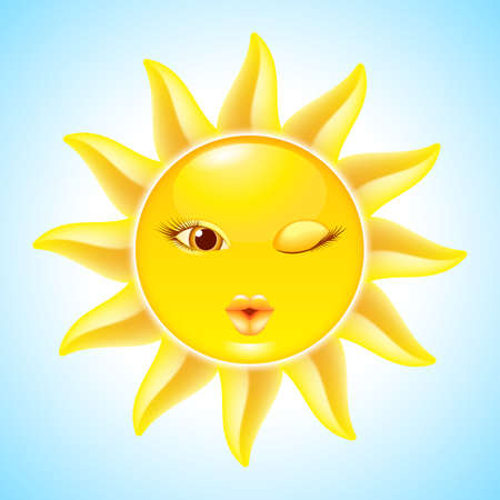 Winking Sun. Cool Cartoon Character for design Illustration