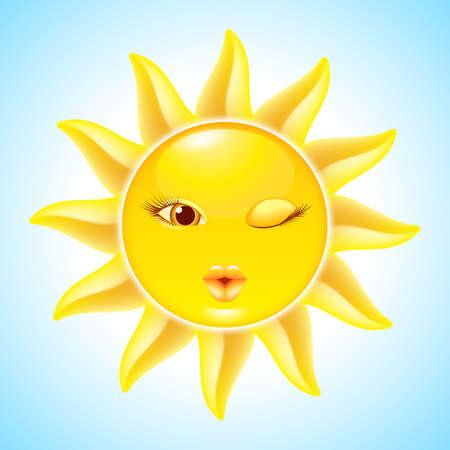 Winking Sun. Cool Cartoon Character for design Vector