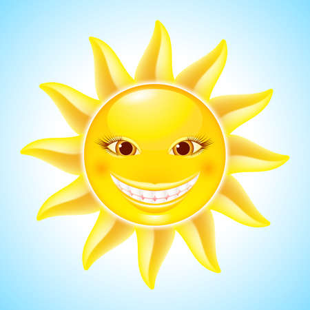 Happy Hot Smiling Sun. Cool Cartoon Character for design Vector