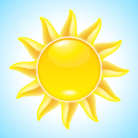 Summer hot Cartoon Sun. Illustration for design Vector