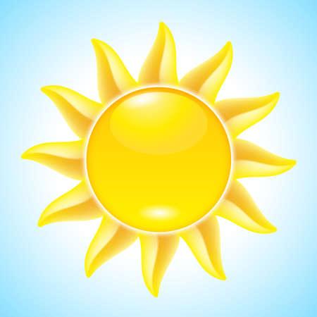 Summer hot Cartoon Sun. Illustration for design Vector
