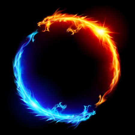 Anillo de dragones de fuego azul y rojo. Ilustración de vector