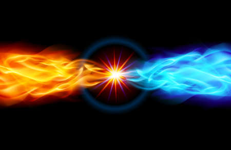 emit: Star with Red and Blue Flame tail in Space