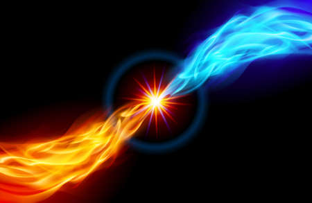 emit: Star with Red and Blue Flame tail for you design on black