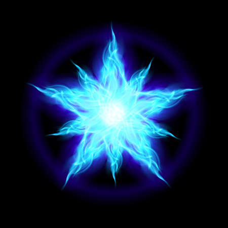 first form: Abstract Ice star. The form of the first. Illustration on black background Illustration