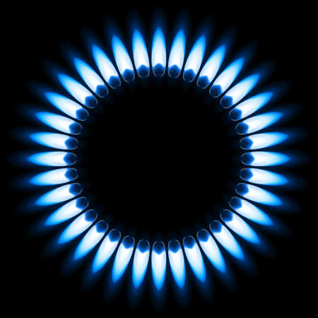 cookers: Blue Gas Flame. Illustration on black background Illustration