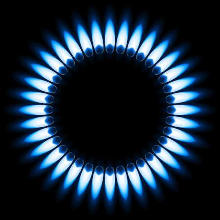 gas flame: Gas Flame Blue. Illustrazione su sfondo nero Vettoriali